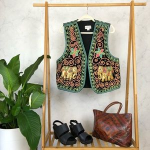 Vintage Embroidered Sequin Elephant Bohemian Vest
